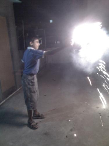 Vinay with sparklers